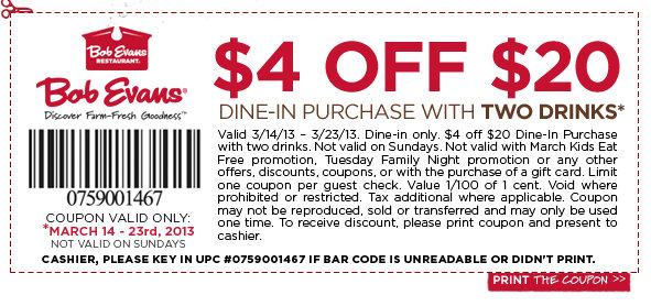 bob evans Bob Evans $4 Off $20 Purchase Printable Coupon