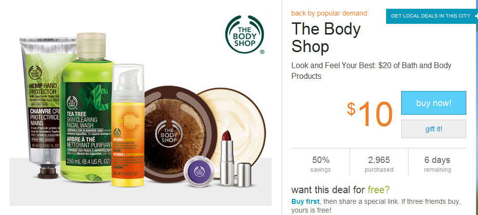 body shop Living Social: $20 Voucher Worth of Body Shop Products for $10