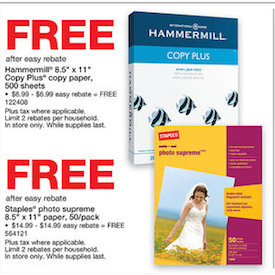 free paper 1 FREE 16 pack of Duracell Batteries, FREE Copy Paper and Photo Paper at Staples