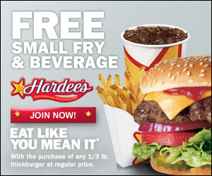 hardees Hardees: FREE Small Fry and Small Drink with Purchase of any 1/3lb Thickburger