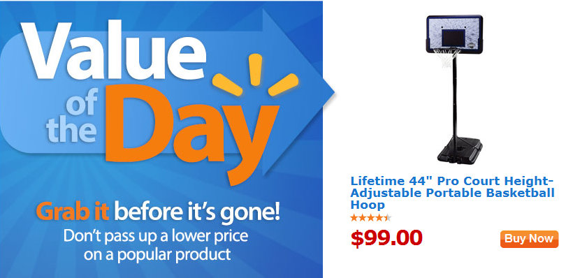 hoop Lifetime 44 Pro Court Height Adjustable Portable Basketball Hoop for $99 Shipped