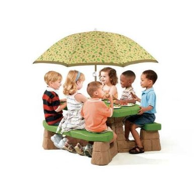 51i+5XBgxhL. SX385  Step2 Naturally Playful Picnic Table with Umbrella for $79.98