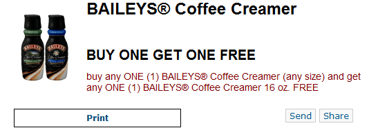 bailey New BOGO FREE Baileys Coffee Creamer Printable Coupon (Today Only)