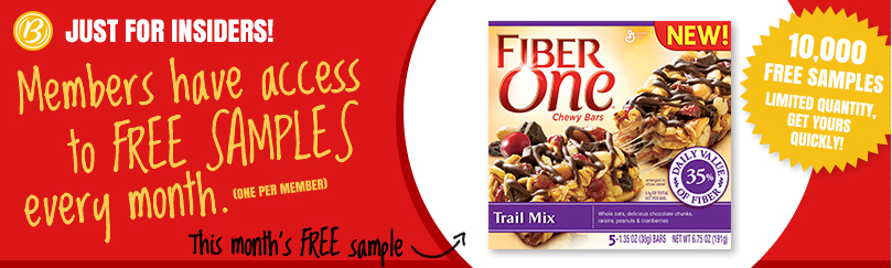 betty crocker Betty Crocker Members: FREE Fiber One Chewy Trail Mix Bar