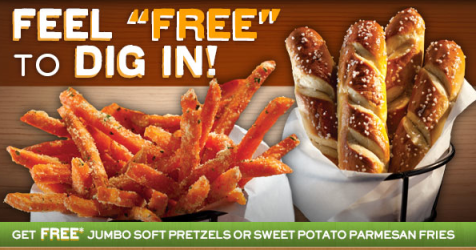 free pretzel Chilis: FREE Jumbo Soft Pretzels or Sweet Potato Parmesan Fries