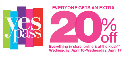 kohls yes Kohls 20% Yes Savings Pass Printable Coupon