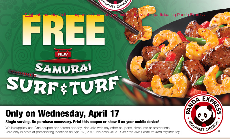 panda Panda Express: FREE Samurai Surf and Turf (4/17 Only)