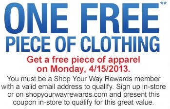 sears Sears Outlet: FREE Apparel Monday (4/15) Only!