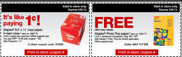staples Staples Multipurpose Paper 5 Ream Case for a Penny and FREE Staples Photo Plus Paper