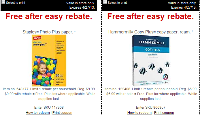 staples FREE HammerMill Plus Copy Paper and Staples Photo Plus Paper
