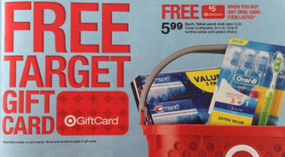 target1 Target Dental Care Gift Card Deal = FREE Toothpaste, Toothbrushes and Mouthwash