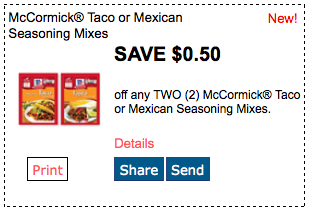 taco seasonings coupons