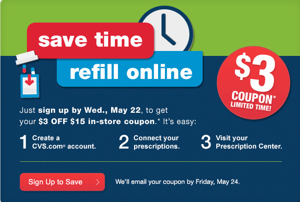 cvs coupon $3 Off $15 CVS In Store Coupon (When You Connect Online Account and Prescriptions)
