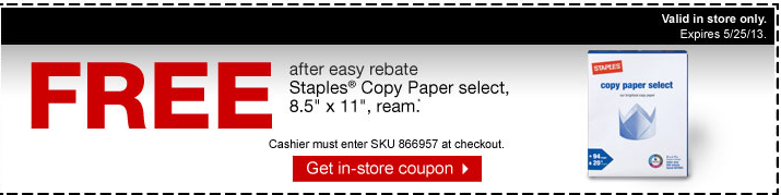 free paper FREE Staples Copy Paper Select Ream after Easy Rebate