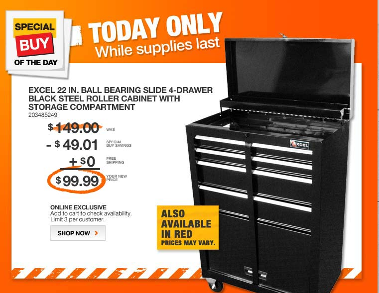 home depot1 Home Depot: Excel Ball Bearing Slide 4 Drawer Black Steel Roller Cabinet with Storage for $99.99 Shipped
