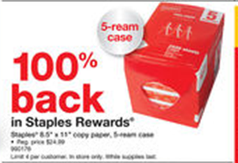 Staples Multipurpose Paper 5 Ream Case for FREE After Rewards