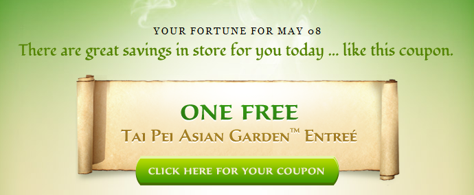 FREE Tai Pei Asian Garden Entree Coupon
