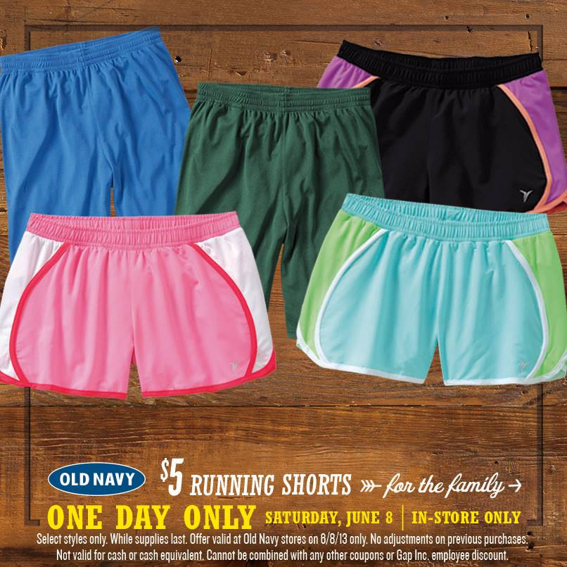 Old Navy: Running Shorts for the Whole Family only $5 Each