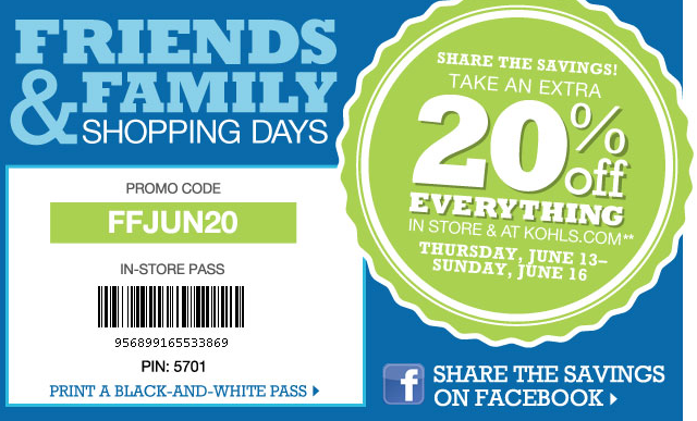 Kohl's 20% Friends and Family Savings Printable Coupon