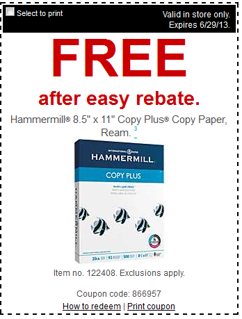 FREE Staples Pastel Colored Paper Photo Plus And HammerMill