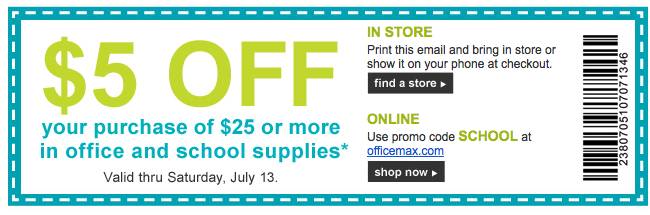 Screen Shot 2013 07 09 at 7.55.12 AM Office Max and Staples $5 off Purchase Printable Coupons