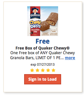 Screen Shot 2013 07 12 at 8.46.24 AM Kroger Shoppers:  Free box of ANY Quaker Chewy Granola Bars, with Digital Coupon (Load Now)