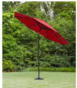 Hampton Bay 9 ft dia Octagon SolarPowered Patio Umbrella for 89