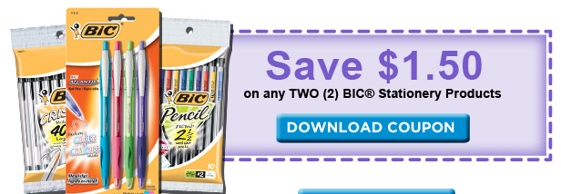 graphic relating to Bic Printable Coupons called Contemporary Bic Stationary Materials Printable \u003d Freebies at Staples