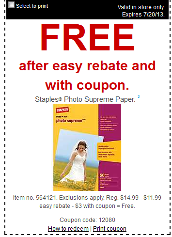 free paper at staples FREE Staples Photo Supreme Paper, $1 Multipurpose Paper and More