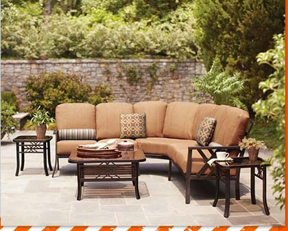 Hampton Bay Cedarvale 4 Piece Sectional Patio Seating Set With Nutmeg  Cushions For $499 Shipped