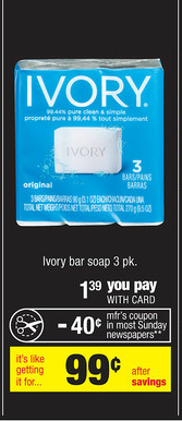 ivory Ivory Bar Soap Just 49¢ at CVS