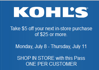 Kohls: $5 off $25 or more in-store Purchase Printable Coupon