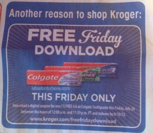 kroger free digital coupon for colgate toothpaste available 726 only Kroger: FREE Digital Coupon for Colgate Toothpaste (Available 7/26 Only)!