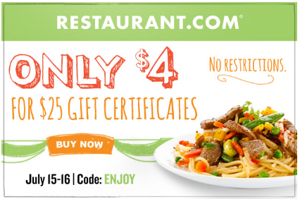 restaurant Restaurant.com: $25 Gift Certificate for $4 (Today Only)