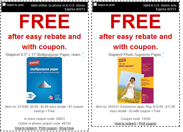 FREE Staples Multipurpose Paper and Photo Supreme Paper