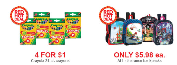 Toys 2 ToysRus Super Savings Event = Crayola 4 for $1, Clearance Backpacks and Lunch Kits plus more!
