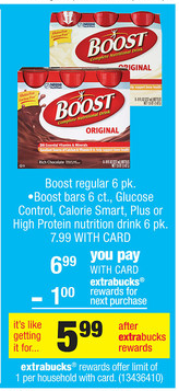 boost New Boost Bars Printable Coupon + CVS Deal