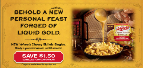 photo about Velveeta Printable Coupon named Kraft Very first Flavor: Velveeta Tacky Skillets Printable Coupon