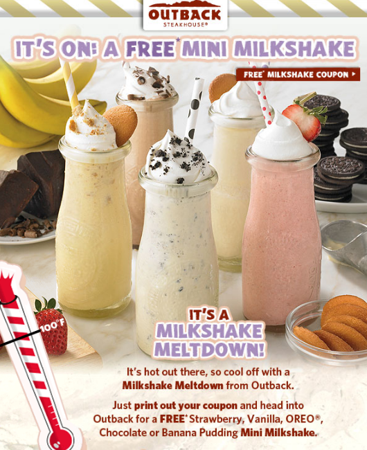 outback Outback Steakhouse: FREE Mini Milkshake