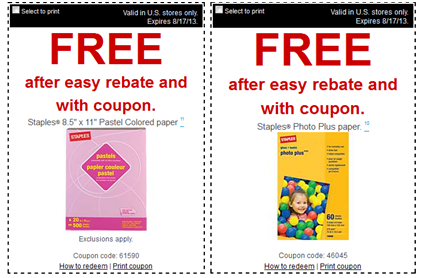 paper FREE Staples Pastel Colored Paper, Photo Plus Paper and HammerMill Plus Copy Paper