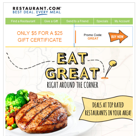 restaurant1 Restaurant.com: $25 Gift Certificate for $5 + Other Restaurant Deals