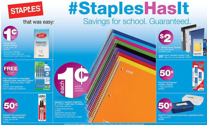 staples1 Back to School Staples Deals for 8/11   8/18