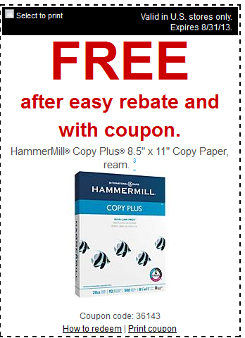 staples2 FREE Pastel Colored Paper, Photo Plus Paper and HammerMill Plus Copy Paper at Staples