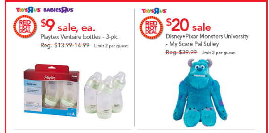 toys21 ToysRus Red Hot ONE DAY ONLY Sale = Playtex Bottles, Monsters University Sulley, Imaginarium Train Set and More