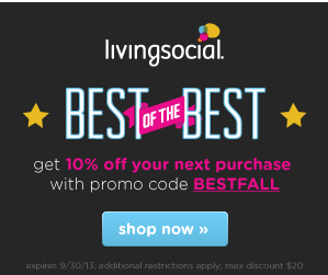 Living Social: 10% Off Coupon Code (Today Only)