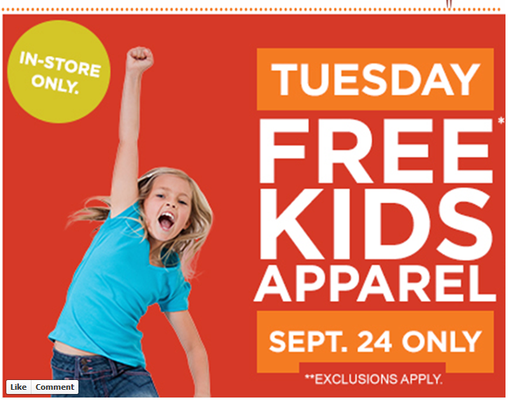 sears Sears Outlet: FREE Kids Apparel 9/24 Only