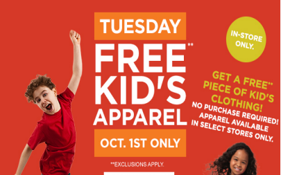 sears1 Sears Outlet: FREE Kids Apparel 10/1 Only