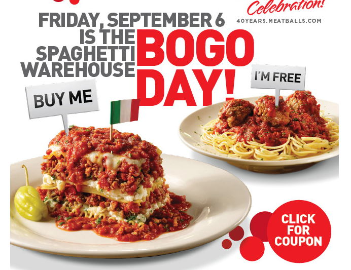 spaghetti Spaghetti Warehouse| Buy One Get One Free Entree Coupon (9/6 Only)