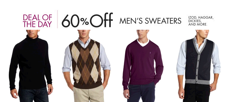 Amazon.com  Deal of the Day  60  Off or More Men s Sweaters  Clothing   Accessories