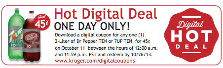 Kroger Shoppers: 45¢ Dr Pepper Ten or 7UP Ten with Digital Coupon (Load Now)